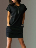Pure Color Round Neck Dress With Pockets - WealFeel