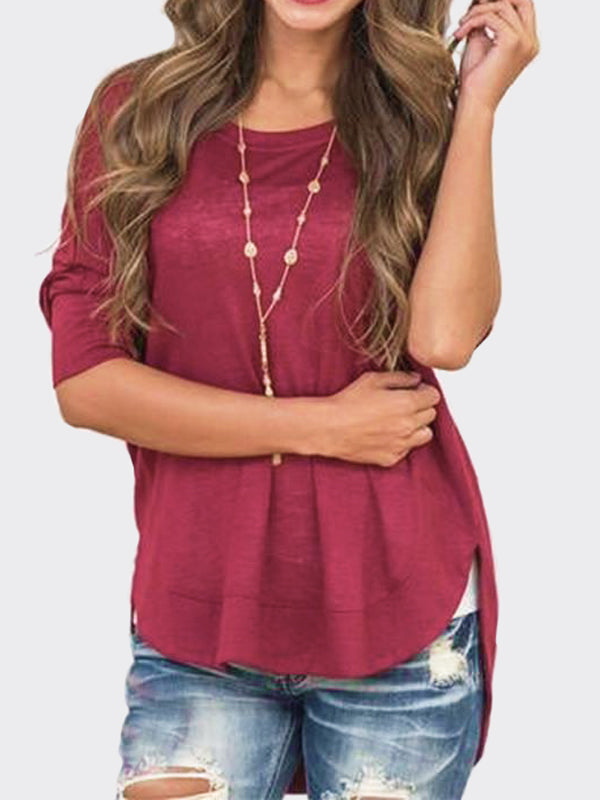 Wine Red Countryside Asymmetric Top - WealFeel