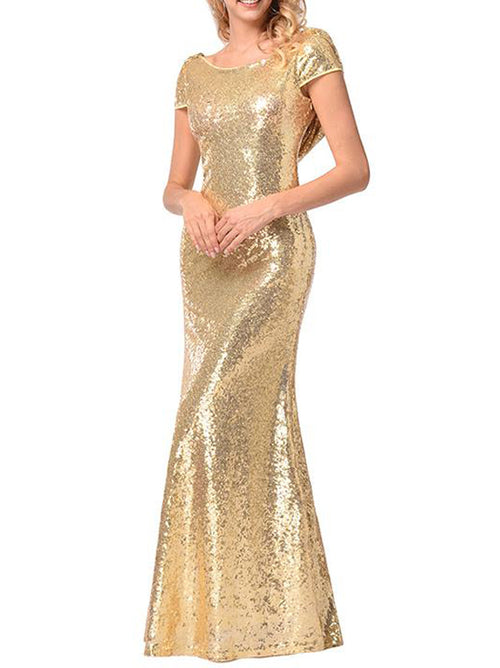 Women Long Gold Bridesmaid Sequins Dress