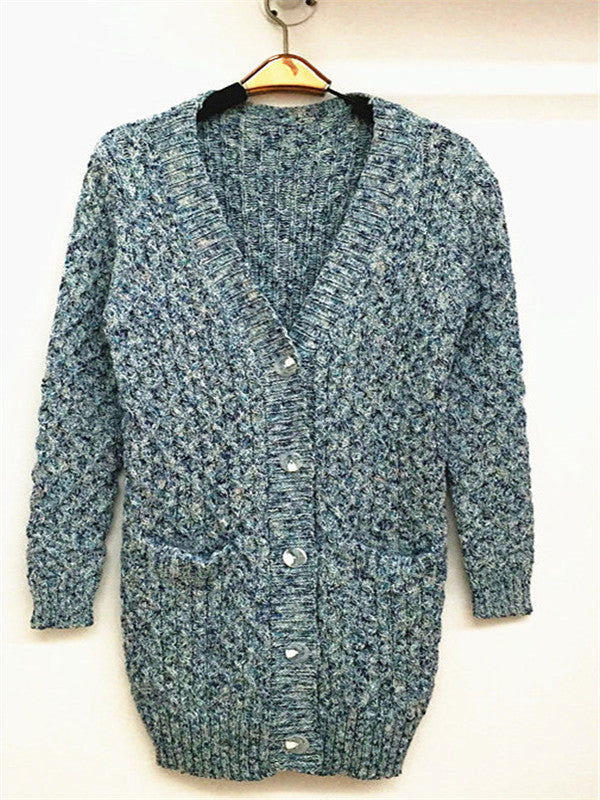 WealFeel V-Neck Blue and White Knitting Cardigan - WealFeel