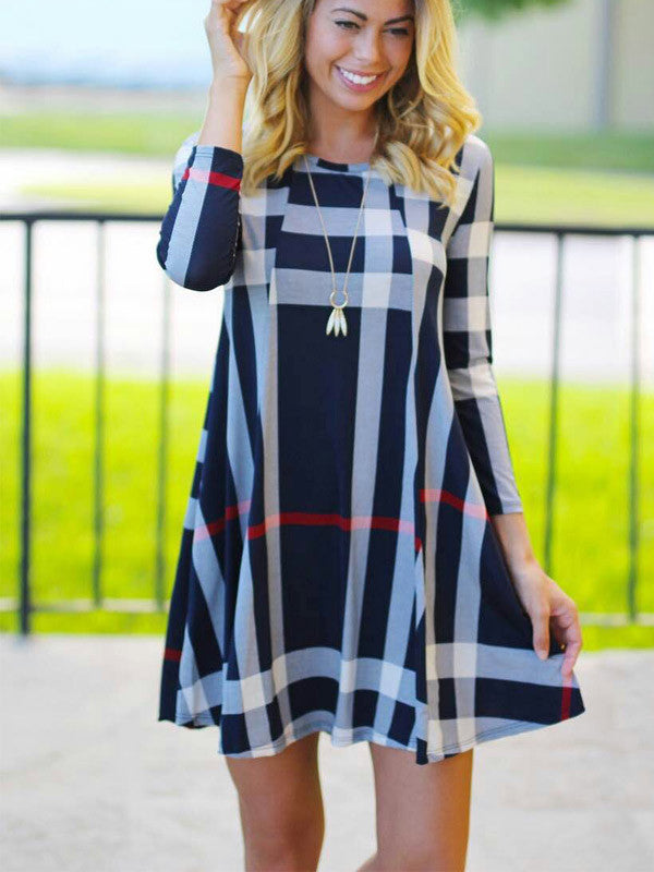 Casual Navy Plaid Mini Dress - WealFeel