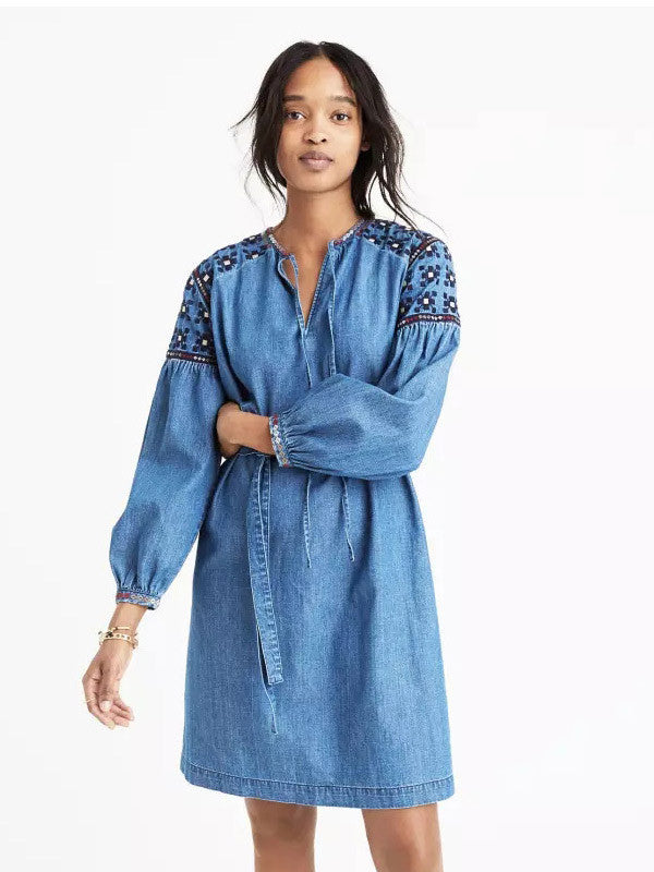 Denim Embroidered Lace-up Dress - WealFeel