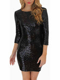 WealFeel Jewel neck Backless Sequins Bodycon Dress - WealFeel
