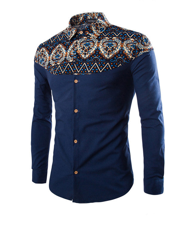 Men Printing Long-sleeved Shirt - WealFeel
