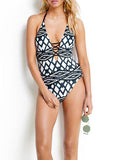 Sexy Halter Geometric Print One-piece Swimsuit - WealFeel