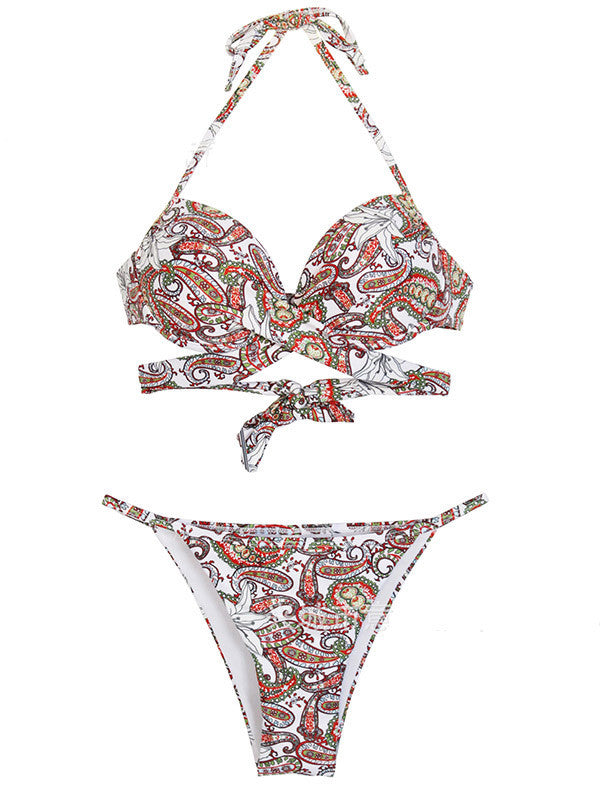 Lace up Back Floral Bikini Set - WealFeel