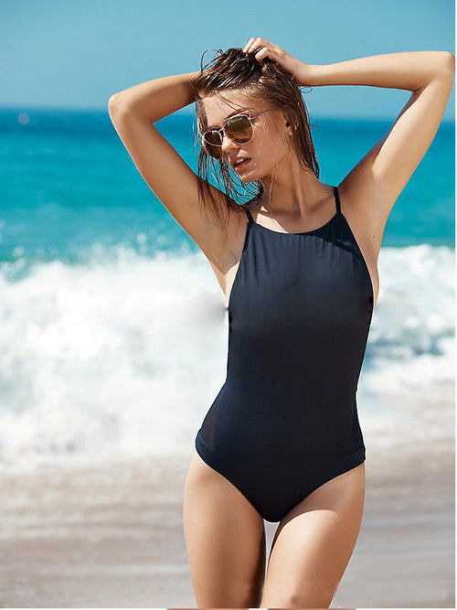 Solid Color Open Back One-piece Swimsuit - WealFeel
