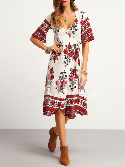 WealFeel Dream Floral Plunging Dress - WealFeel