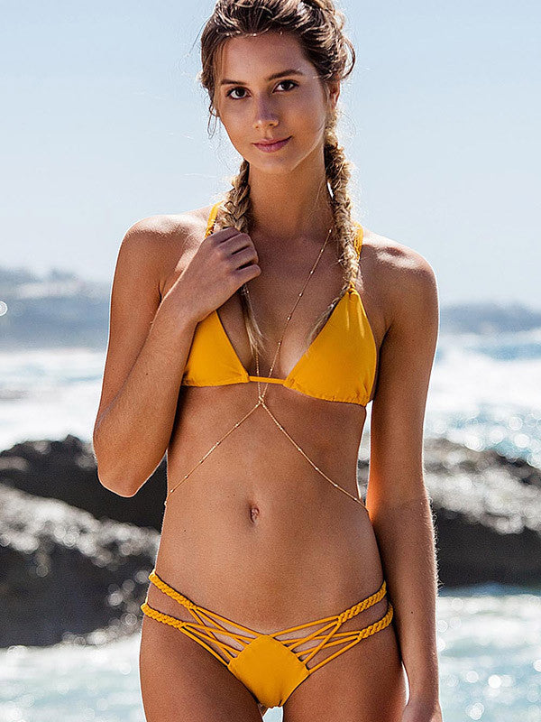 Pure Color Crochet Cross Back Bikini Set - WealFeel