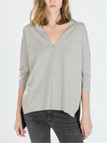 Gray Front Black Back V-neck Top - WealFeel