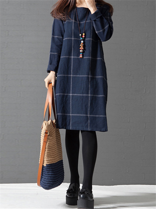WealFeel Long sleeved Plaid Cotton and Linen Dress
