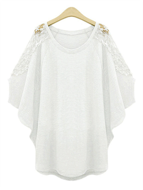 Bat Sleeve Patchwork Lace Loose T-shirt - WealFeel
