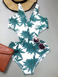 Green Leaf Printed One-piece Swimsuit - WealFeel