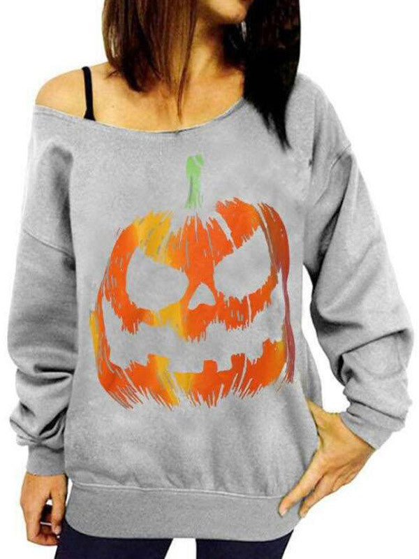 Pumpkin Head Pattern Printed Long-Sleeved Strapless Sweatshirt - WealFeel