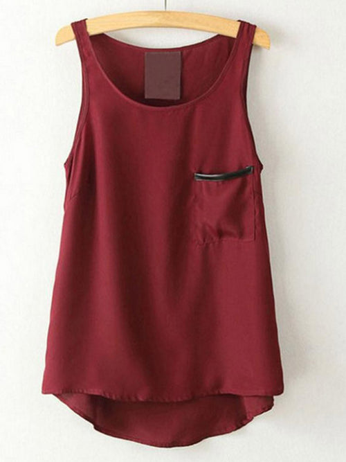PU Pocket Round Collar Sleeveless Chiffon Vest - WealFeel