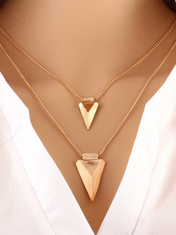 Fashion Women Metal Triangle Necklaces - WealFeel