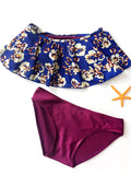 Floral Printed Purple Bikini Sets - WealFeel