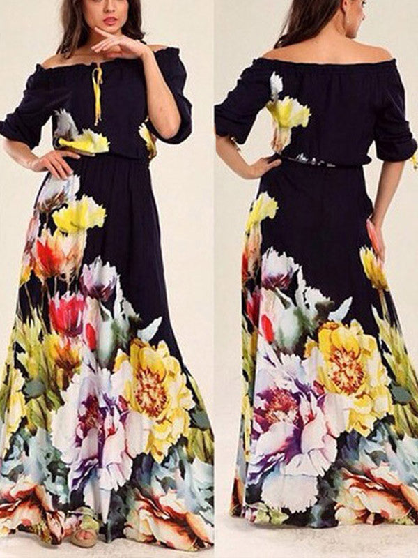 Women's Off Shoulder Floral Long Dress - WealFeel