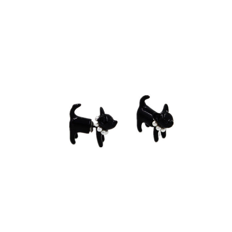 Cute Kittie Earrings Funny Ear Studs - WealFeel