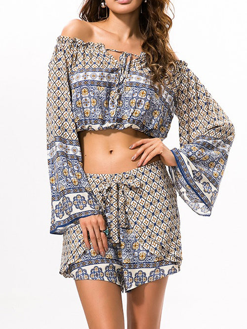 Seaside Print Tops & Shorts Suits - WealFeel
