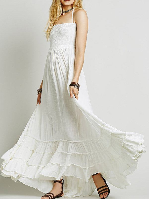 Halter Backless Beach Swing Long Dress - WealFeel