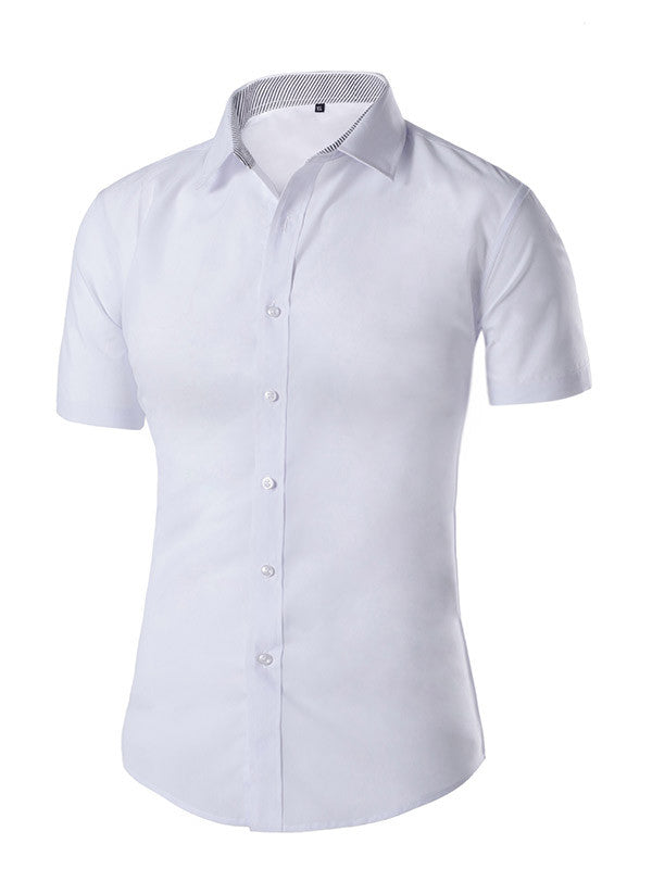 Men's Solid Color Short Sleeved Shirt - WealFeel