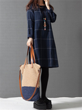 WealFeel Long sleeved Plaid Cotton and Linen Dress - WealFeel