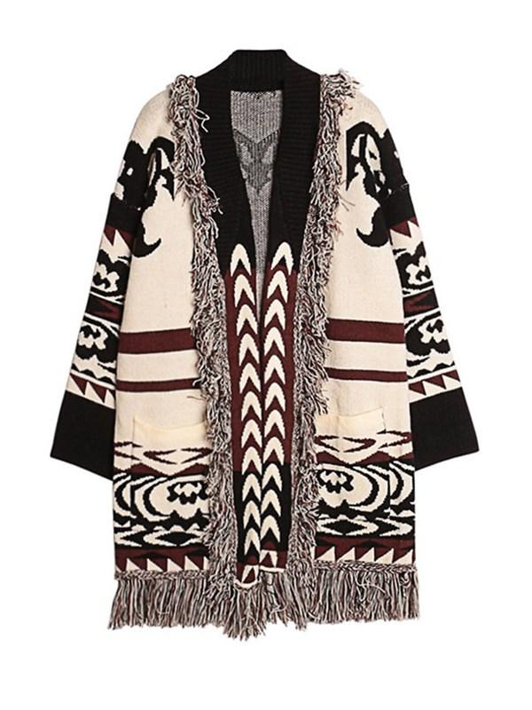 Like It Jacquard Tassel Cardigan - WealFeel