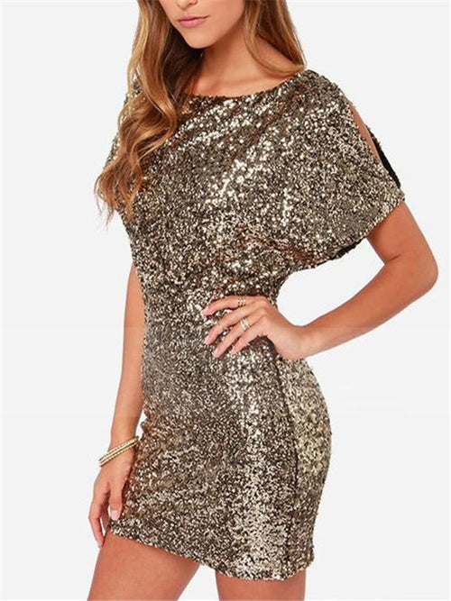 WealFeel Golden Sequin Halter Slim Bodycon Dress - WealFeel