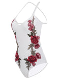 White Embroidered Cross Back Bodysuit - WealFeel