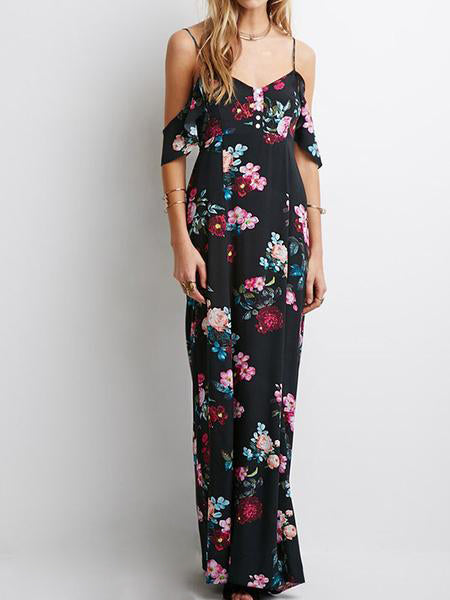Sexy Floral Print Backless Long Dress - WealFeel