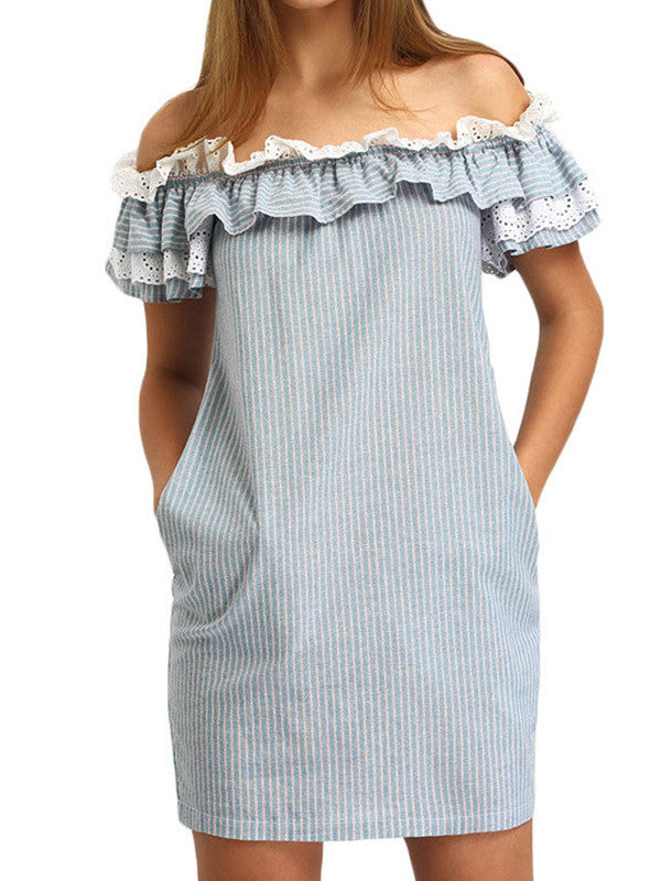 Sweet Off Shoulder Ruffles Striped Mini Dress - WealFeel