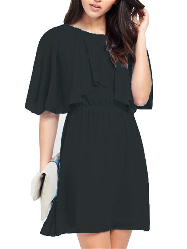 Round neck Slim Fit Chiffon Dress - WealFeel