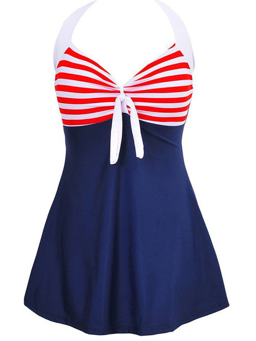 Plus Size Stripe One Piece Swimwear Dress - WealFeel
