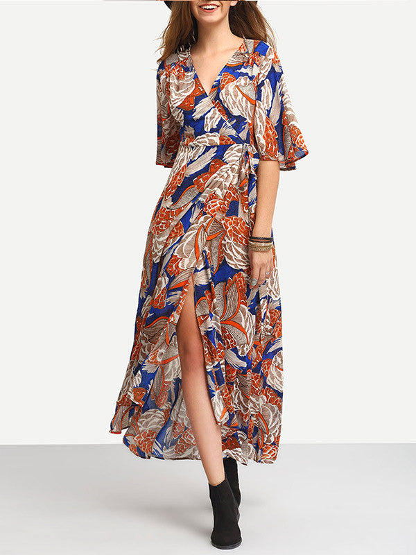 Exotic Floral Printed V Neck Split Maxi Dress - WealFeel