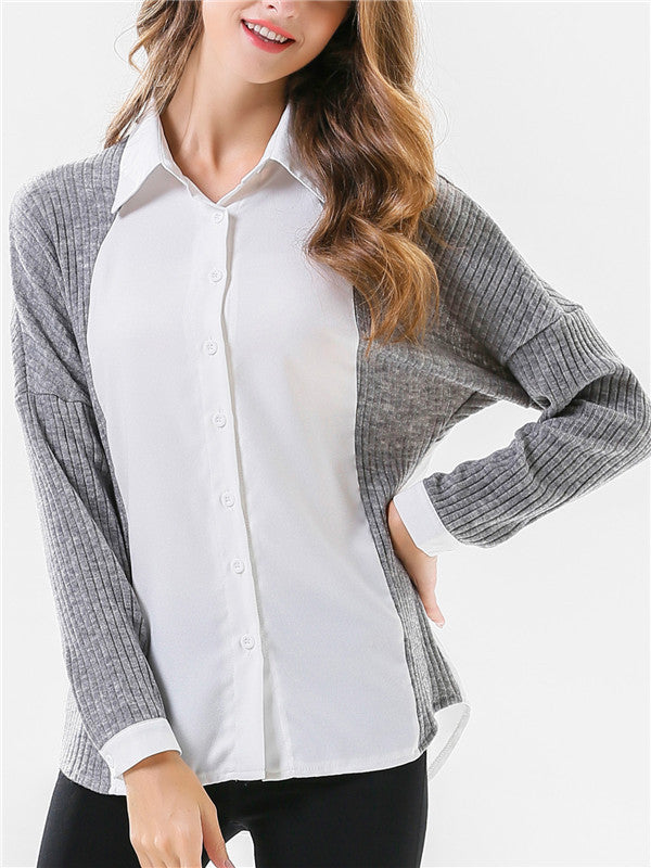 Gray stitching White Long-sleeved Shirt - WealFeel
