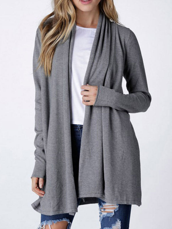 Womens Open Front Long Sleeve Cardigan - WealFeel