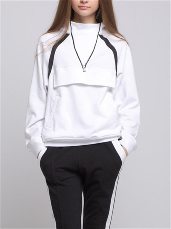 V-neck Zipper Design White Hooded Sweatshirt - WealFeel