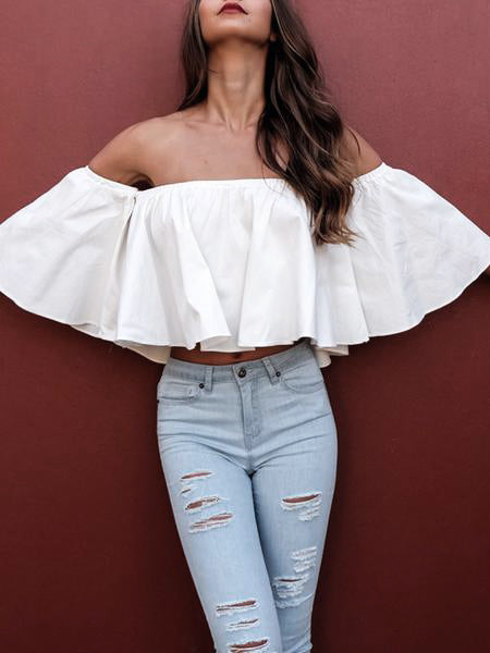 Sexy Off Shoulder Ruffle Top - WealFeel