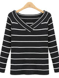 Black White Stripes Crew Neck Knitted Top - WealFeel