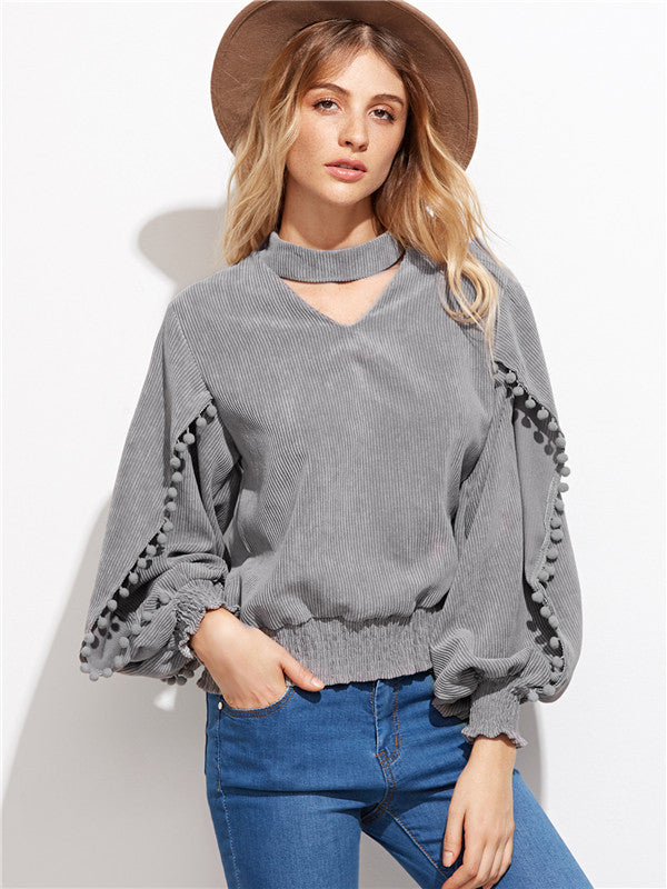 Loose Gray Puff Sleeves Top - WealFeel