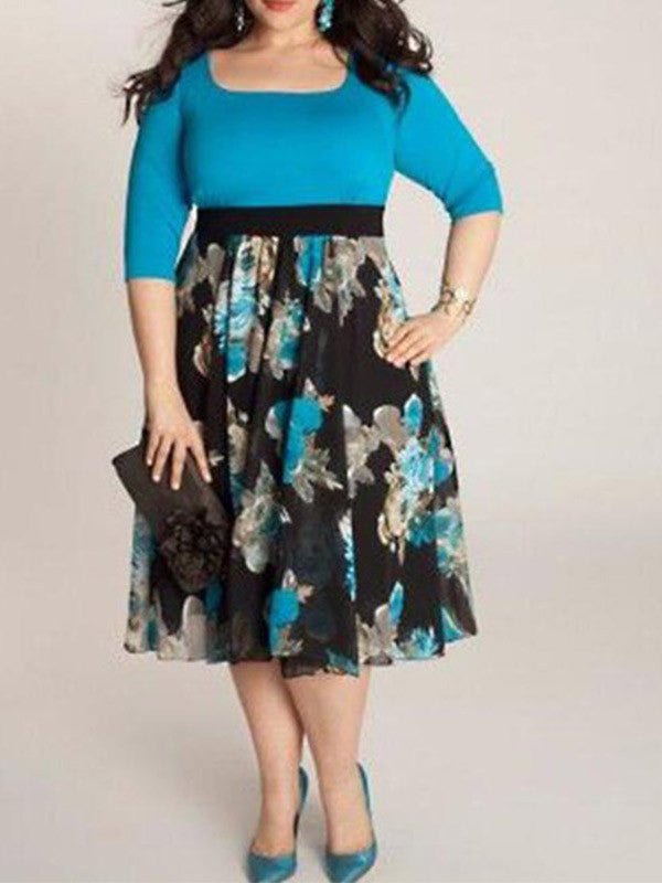 Plus Size Elegant Floral Dress - WealFeel