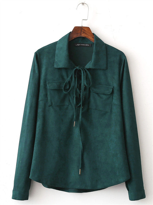 Vintage Green Velvet Long-sleeved Shirt - WealFeel