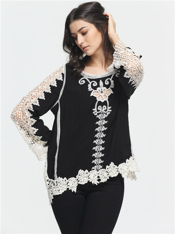 White Lace Stitching Black Round Neck Top - WealFeel