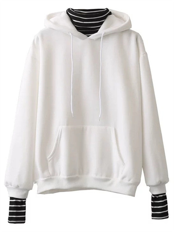Fake Two-piece Striped sleeves Stitching Hooded Sweatshirt - WealFeel