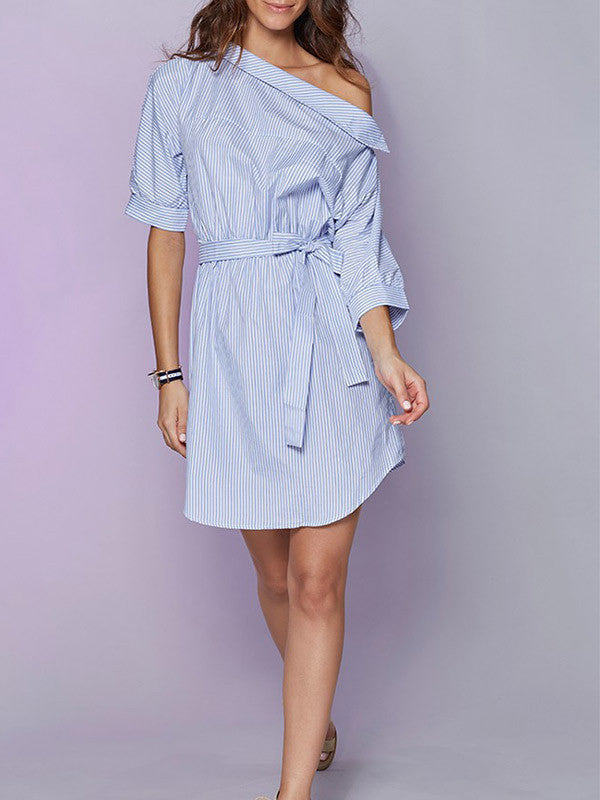 All for One Shoulder Striped Shirt Dress - WealFeel