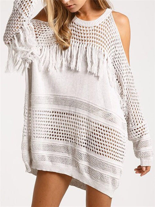 Strapless Hook Flower Hollow Knitted Sweater - WealFeel