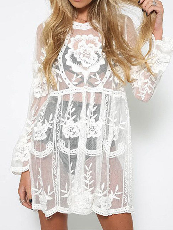 Lace Long Sleeves See Through Mini Dress - WealFeel