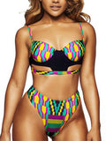 Sexy Push Up Geometric Patterns Bikini Sets - WealFeel