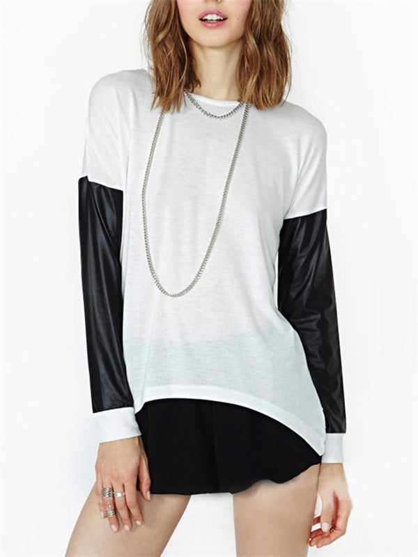 Asymmetric Black&White stitching Blouse - WealFeel